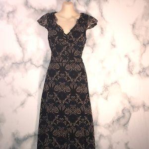 🔮 3/$12 Ann Taylor Midi Paisley Ruffle Dress Chic
